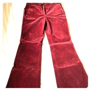 Burgundy velvet trousers